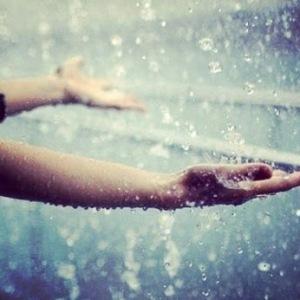 hands in rain